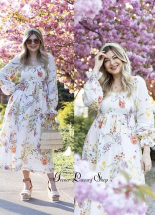 Чудесное  цветочное платье h&m  48-50-52,  52-54-56