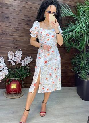 Платье летнее с открытыми плечами в цветочный принт