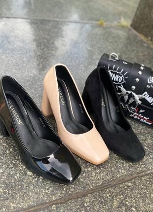 Элегантные женские лаковые бежевые туфли9 фото