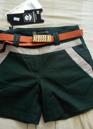 Зеленые шорты с поясом xs-s