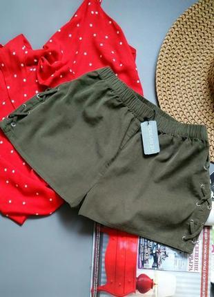 Вельветовые шорты хаки в стиле милитари forever 21