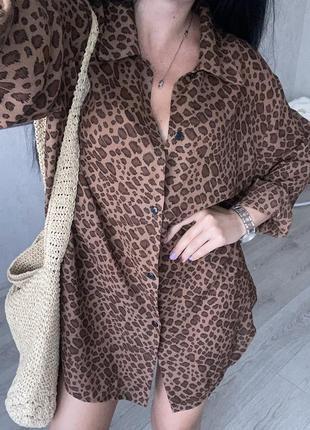 Шикарная пляжная летняя шифоновая рубашка туника  леопард