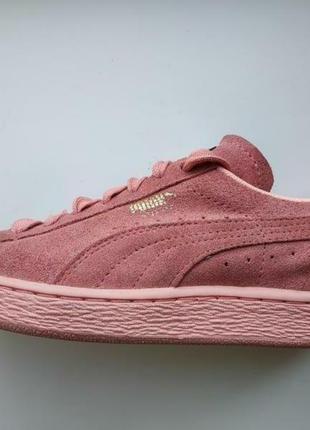 Puma suede розовые кеды, кроссовки, пудровые кеды на платформе, стелька 24 см, розовые кроссовки