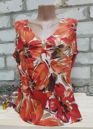 Яркая льняная блуза