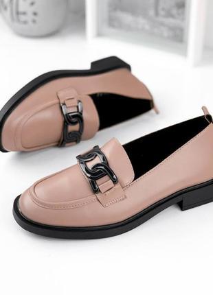 Лоферы капучино женские туфли