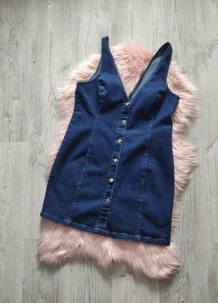 Джинсовый сарафан платье на пуговицах джинс