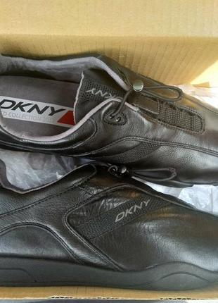 Новые кожаные кроссовки dkny чёрные оригинал мужские 100% кожа