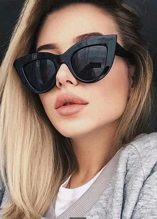 Солнцезащитные очки в стиле кошачий глаз чёрный матовый