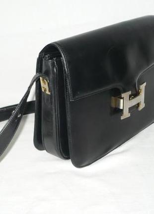 Глянцевая кожаная сумка клатч на плечо держит форму 2 отделения шкіряна сумка