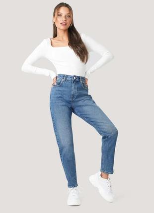Новые джинсы мом от na-kd синие джинсы на высокой посадке (бирка)