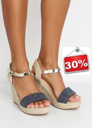 Розпродаж! оригінальні стильні босоніжки на танкетці. акція -30%