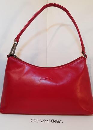 Трендовая кожаная сумка багет jane shilton эффектный красный цвет