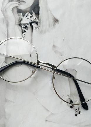 Круглые ретро имиджевые очки тишейды серебро