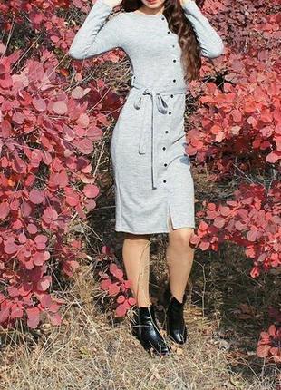 Уютное платье миди с поясом размер s/m