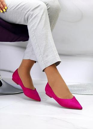 Розовые/малиновые/фуксия балетки/туфли/лодочки острый носок 35-40