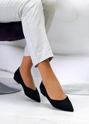Черные замшевые балетки/туфли/лодочки острый носок 35-40