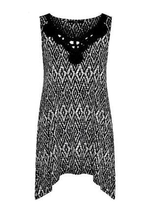 Распродажа! красивая трикотажная туника с плетеным декольте, батал р.24-26