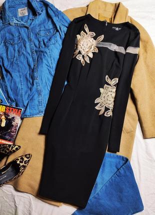 Little mistress платье по фигуре карандаш футляр миди с длинным рукавом сеточка цветочный принт