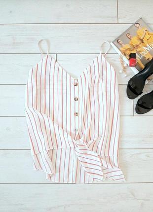 Стильный легкий топ_блуза  батал  на пуговицах и на завязке