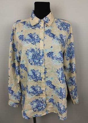 Блуза рубашка льняная красивая в принт uk 16/44/xl 1234