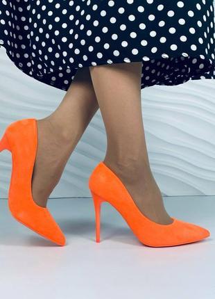 ❤️ шикарные замшевые неоновые туфли лодочки