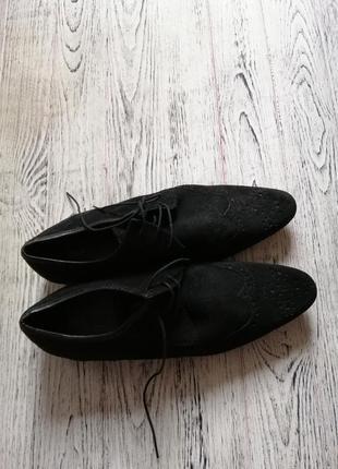 Натуральные замшевые туфли броги оксфорды асос asos3 фото