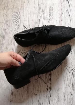 Натуральные замшевые туфли броги оксфорды асос asos2 фото