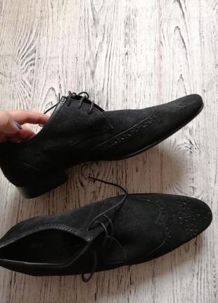 Натуральные замшевые туфли броги оксфорды асос asos4 фото
