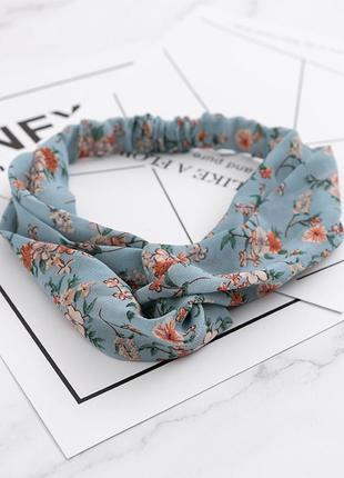 Шифоновая повязка-чалма на голову полевые цветы / большая распродажа!
