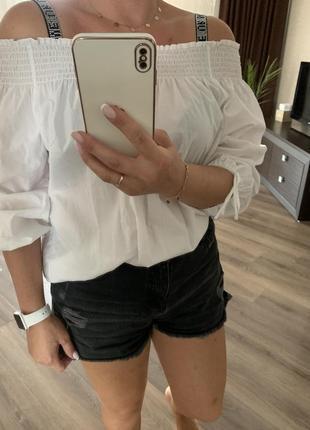 Хлопкова рубашка блуза h&m