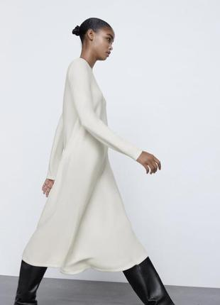 Трикотажное платье миди зара zara