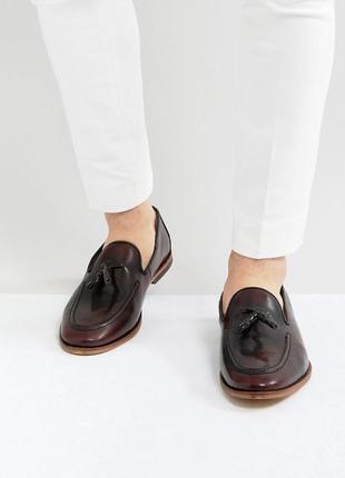 Натуральные кожаные туфли лоферы броги асос asos