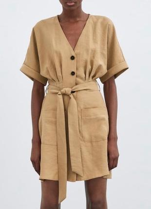 Платье zara короткое беж на пуговках