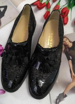Италия кожаные туфли лоферы оксфорды р 37 37,5