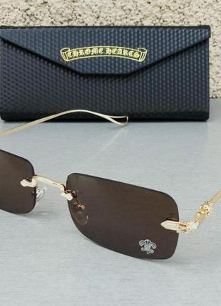 Chrome hearts очки унисекс солнцезащитные модные узкие коричневые безоправные дужки металл