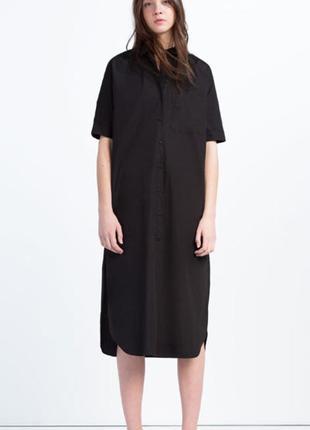 Хлопковое платье-рубашка zara