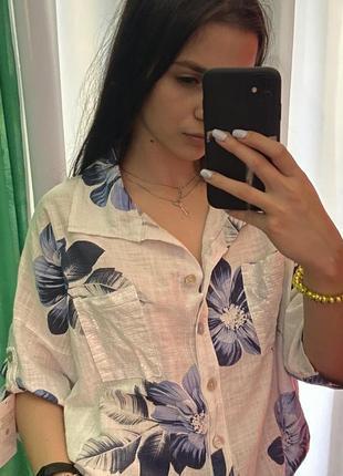 Рубашка в цветочек на кулиске