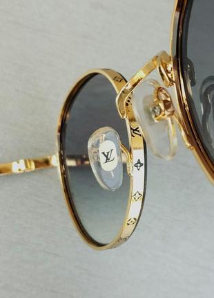 Louis vuitton стильные женские солнцезащитные очки сине фиолетовый градиент в  золотом металле9 фото