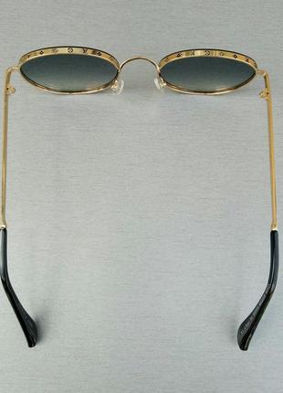 Louis vuitton стильные женские солнцезащитные очки сине фиолетовый градиент в  золотом металле4 фото