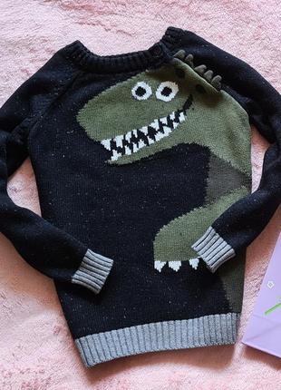 Свитер джемпер свитшот пуловер кофта с динозавром zara next h&m hilfiger 5-6 лет
