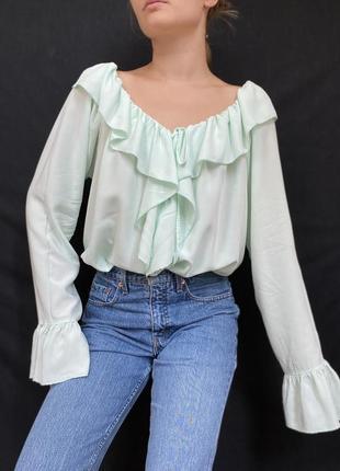 Романтичная рубашка с воланами мятного цвета, италия