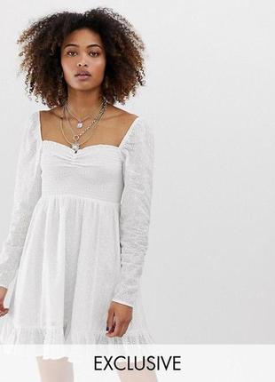 Ексклюзивное трендовое белое короткое платье прошва с фонариками. лимитированная серия asos