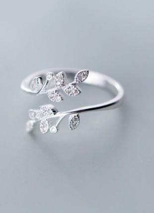 Красивое нежное кольцо листики серебро 925 / большая распродажа!