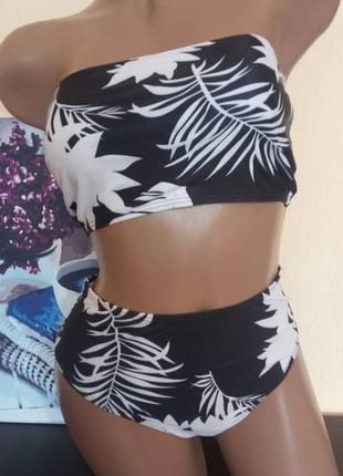 Женский раздельный купальник с черно-белым принтом 62094 фото
