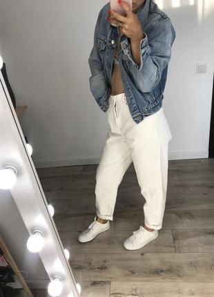 Мом джинсы белые плотные высокая посадка