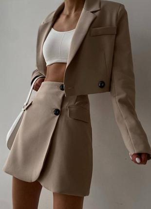 Костюм юбка на запах короткая с высокой талией укороченный пиджак жакет на пуговицах повседневный однотонный модный трендовый летний осенний весенний