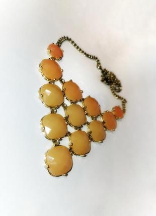 Колье ожерелье нюдовое кабошоны граненые