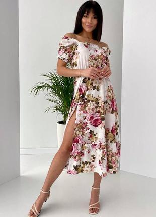 Платье с коротким рукавом софт белое с цветочным принтом
