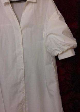 Avant premiere / 100% хлопок трендовое свободное платье рубашка на пуговицах рукав фонарик біла сукня на ґудзиках3 фото