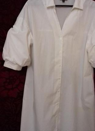 Avant premiere / 100% хлопок трендовое свободное платье рубашка на пуговицах рукав фонарик біла сукня на ґудзиках2 фото